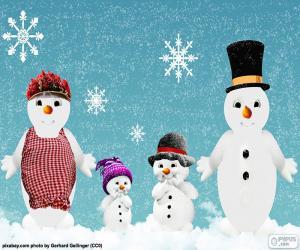 puzzel Familie van sneeuwmannen