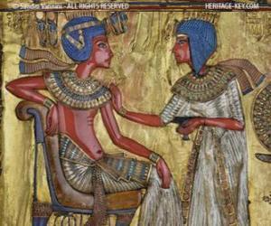 puzzel Farao gezeten op zijn troon met een scepter nejej, in de vorm van een zweep in zijn hand
