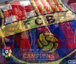 puzzel FC Barcelona, kampioen van 2015-2016