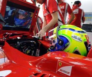 puzzel Felipe Massa, in de ontwikkeling van zijn Ferrari