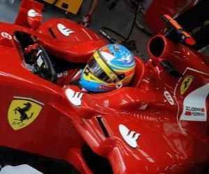 puzzel Fernando Alonso, de voorbereiding voor de race voor Ferrari