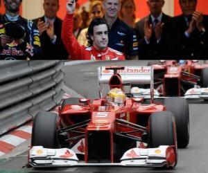puzzel Fernando Alonso - Ferrari - GP van Monaco 2012 (3de positie)
