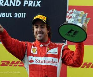 puzzel Fernando Alonso - Ferrari - Istanbul, Turkije Grand Prix (2011) (3e plaats)