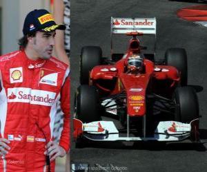puzzel Fernando Alonso - Ferrari - Monte Carlo, Monaco Grand Prix (2011) (2e plaats)