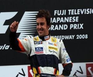puzzel Fernando Alonso in het podium