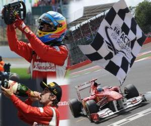puzzel Fernando Alonso viert zijn overwinning in de Grand Prix van Groot-Brittannië (2011)