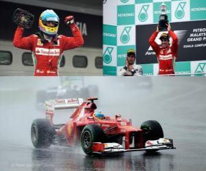 puzzel Fernando Alonso viert zijn overwinning in de Grand Prix van Maleisië (2012)