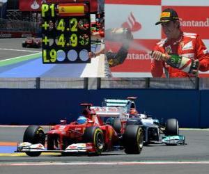 puzzel Fernando Alonso viert zijn overwinning in de Grand Prix van Europa (2012)