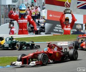puzzel Fernando Alonso viert zijn overwinning in de Grand Prix van Duitsland 2012