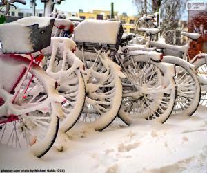 puzzel Fietsen in de winter
