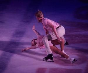 puzzel Figuur skaters in een ijsbaan