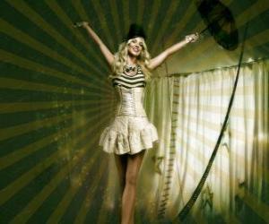 puzzel Fil de fériste of funambule met een meisje gekleed als een ballerina en met een kegel hoed lopen op het touw
