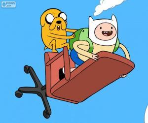 puzzel Finn en Jake vliegen