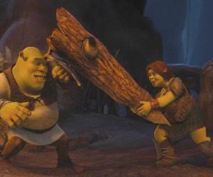 puzzel Fiona, de krijger, samen met Shrek