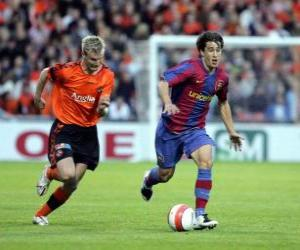 puzzel Football-speler (Bojan Krkic FCB) rijden de bal