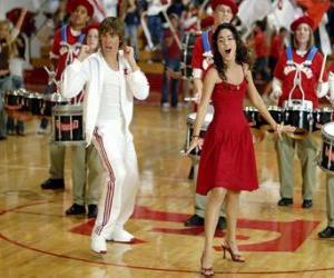 puzzel Gabriella Montez (Vanessa Hudgens) Troy Bolton (Zac Efron) zingen en dansen