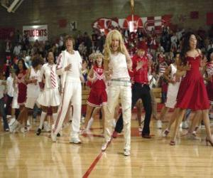 puzzel Gabriella Montez (Vanessa Hudgens) Troy Bolton (Zac Efron), Ryan Evans (Lucas Grabeel), Sharpay Evans (Ashley Tisdale) dansen en zingen
