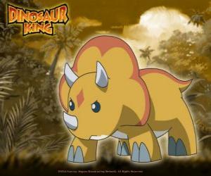 puzzel Gabu, Chomp, de sterkste dinosaurus van Team-D, de triceratops van Dinosaur King