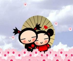 puzzel Garu en Pucca onder een paraplu