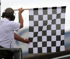 puzzel Geblokte vlag, is deze vlag aan het einde van de race