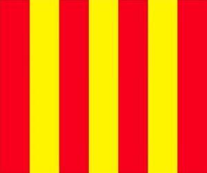 puzzel Gele vlag met rode strepen aan de bestuurders te waarschuwen dat de baan glad is