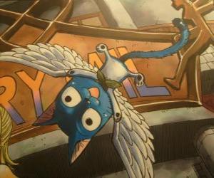 puzzel Gelukkig is een kat die met magie kan hebben vleugels, onafscheidelijke metgezel Natsu in de avonturen van Fairy Tail