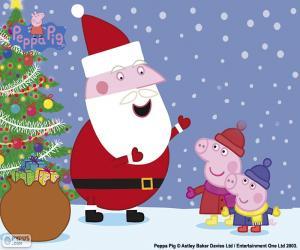 puzzel Gelukkig kerstfeest Peppa