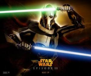 puzzel General Grievous het is een angstaanjagende en krachtige cyborg die heeft zijn leven gewijd aan de vernietiging van de Republiek en de uitroeiing van de Jedi Knights.