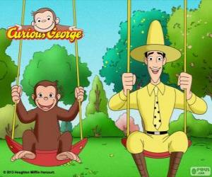 puzzel George de aap met zijn vriend Ted, de man in de gele hoed