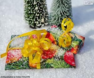 puzzel Geschenken met geel lint