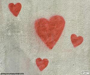 puzzel Geschilderde rode harten