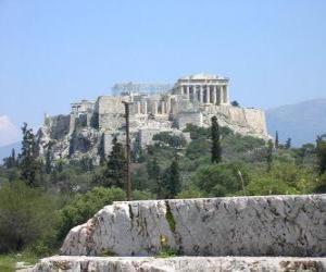 puzzel Gezicht op de tempels van een Griekse stad