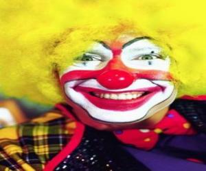 puzzel Gezicht van clown met pruik en groten neus en mond