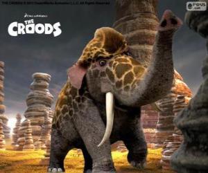 puzzel Girelephant van De Croods, een kruising tussen een giraffe en een olifant