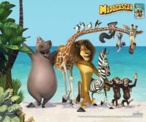 puzzel Gloria het Nijlpaard, Melman de Giraffe, Alex de leeuw, Marty de zebra met de andere hoofdrolspelers van de avonturen