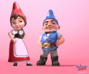 puzzel Gnomeo en Juliet, de protagonisten van een film gebaseerd op Shakespeare Romeo en Julia