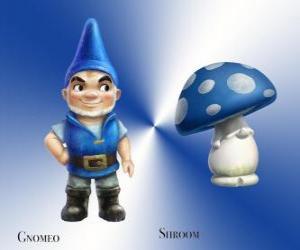 puzzel Gnomeo is een knappe en trotse Blue Garden Gnome, samen met zijn trouwe en trouwe metgezel gips Mushroom Shroom