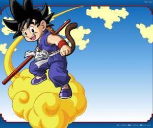 puzzel Goku paardrijden zijn Kinton wolk die kan vliegen op hoge snelheid