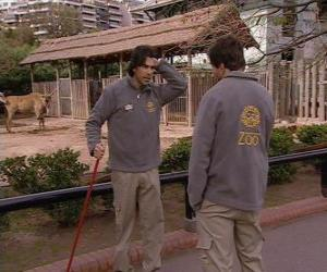 puzzel Gonzalo ziet Leandro in de dierentuin