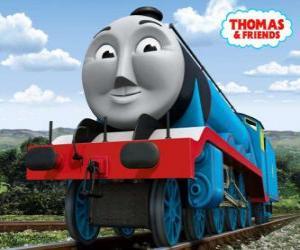 puzzel Gordon, de blauwe motor met nummer 4, de sneltrein