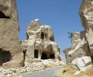 puzzel Göreme Nationaal Park en spelonken locaties in Cappadocië, Turkije.