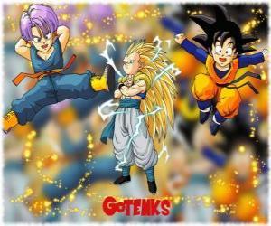 puzzel Gotenks, een van de meest krachtige personages gemaakt door de fusie tussen zoon Goten en Trunks