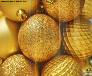 puzzel Gouden ballen voor Kerstmis