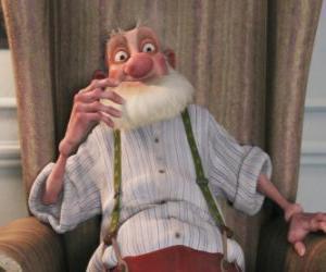puzzel Grand-Santa, de chagrijnige oude vader van Santa die een hekel aan de moderne wereld