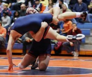 puzzel Grieks-Romeins worstelen wedstrijd, twee worstelaars op de mat