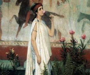 puzzel Griekse vrouw of dame met haar tuniek of chiton
