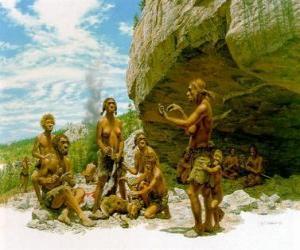 puzzel Groep mannen van de Neanderthaler onder de bescherming van een overhangende rots, het realiseren van de individuen verschillende activiteiten: chartting stenen, anderen de voorbereiding van de jacht