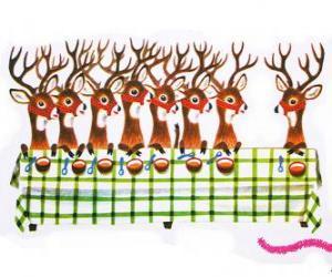 puzzel Groep van Kerstmis rendieren wachten voor voedsel