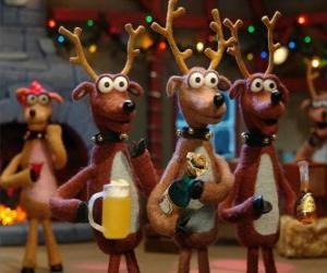 puzzel Groep van Kerstmis rendieren kerstviering