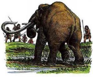 puzzel Groep van prehistorische mannen gewapend met speren in de jacht op een mammoet